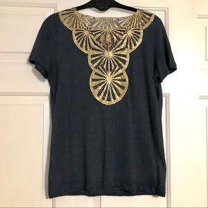 Tory Burch Black T-shirt with cold detail. XS